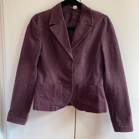 H & M Brushed wash Plum blazer Size 8
